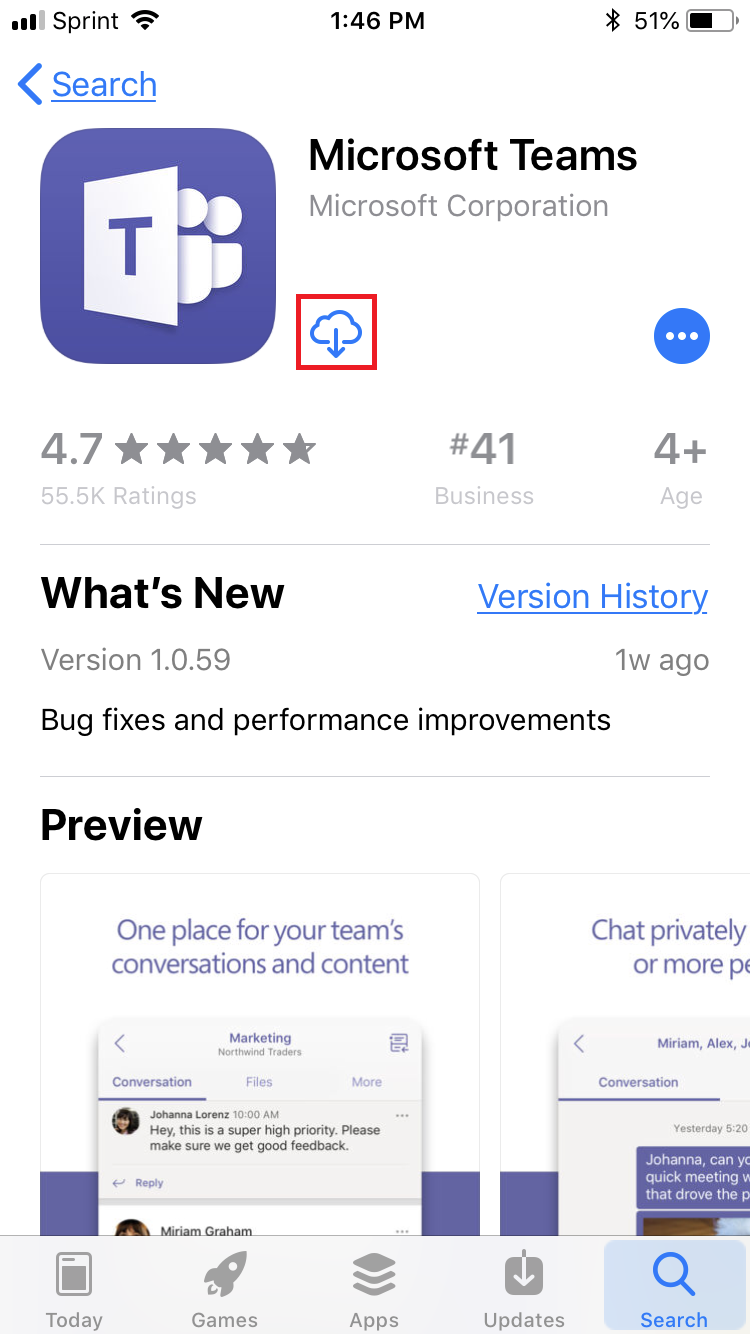 A picture of the download button for microsoft teams