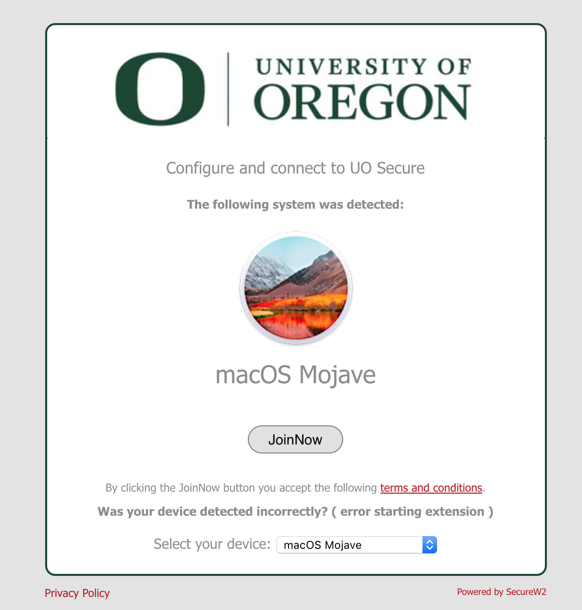 "The UO WiFi Setup configuration screen displaying the detected Operating System (MacOS Mojave), and the ""JoinNow"" button."