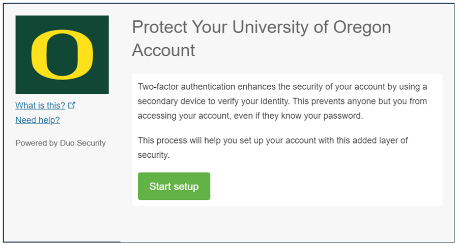 Screenshot of Duo Security prompt to register a device for two-step login