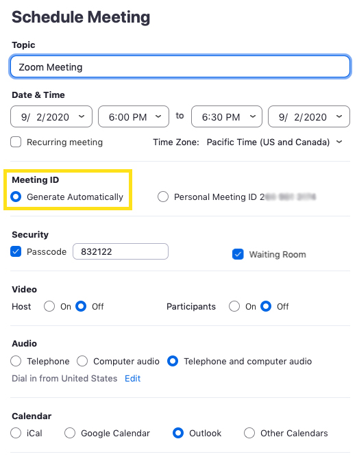 Zoom schedule window that shows the Meeting ID section highlighted