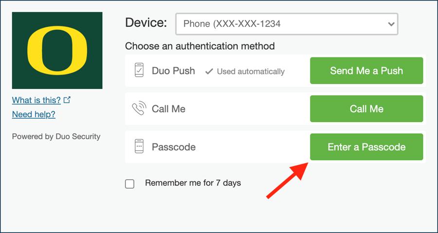 Click Enter a Passcode