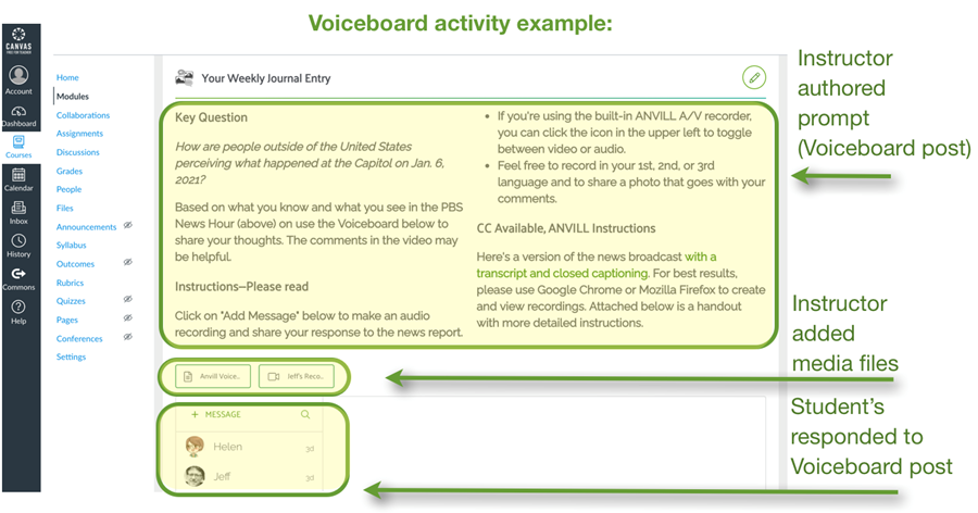 This image shows an example of what a completed Voiceboard activity looks like. It includes an example of an instructor authored prompt, attached media files, and student responses