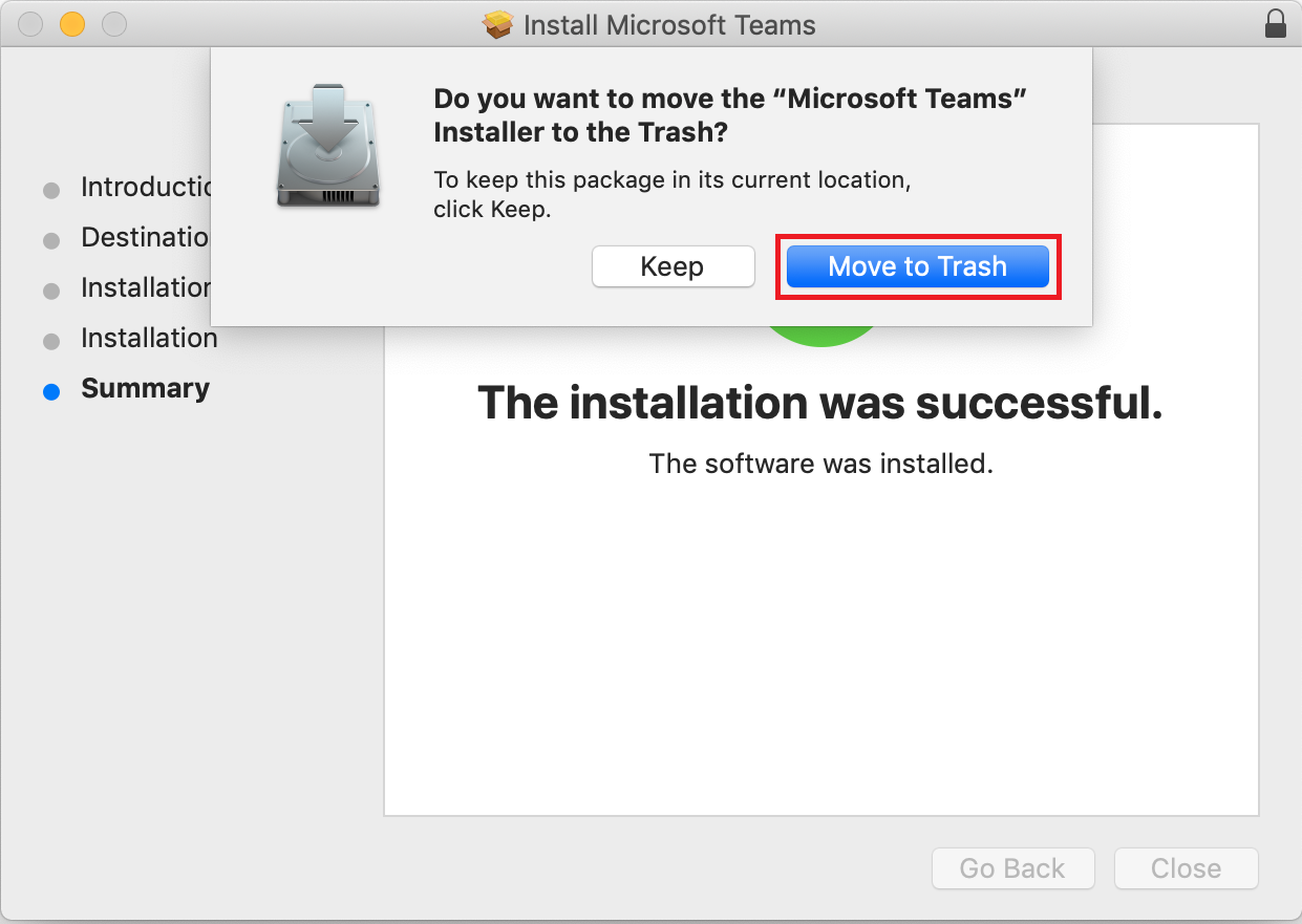 Move the installer file to the trash.