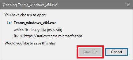 Save the Teams installer.