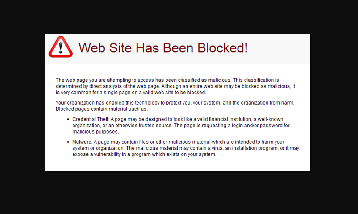 Sample image displaying that a website URl/web address has been flagged as malicious.