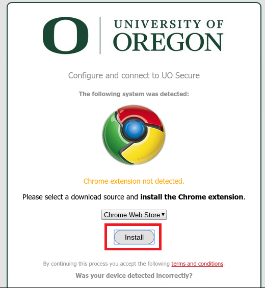 SecureW2 setup page for UO Secure with the Install button highlighted