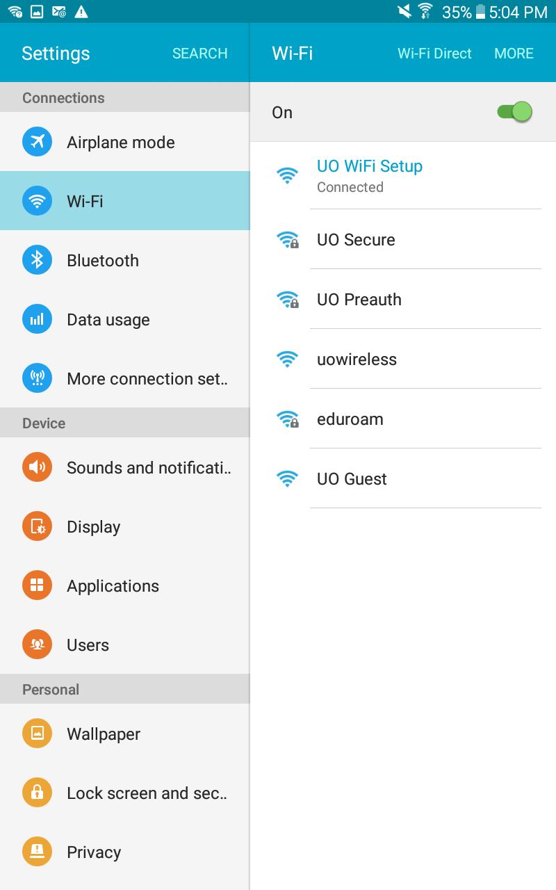 Screenshot of UO Wifi Setup selected.