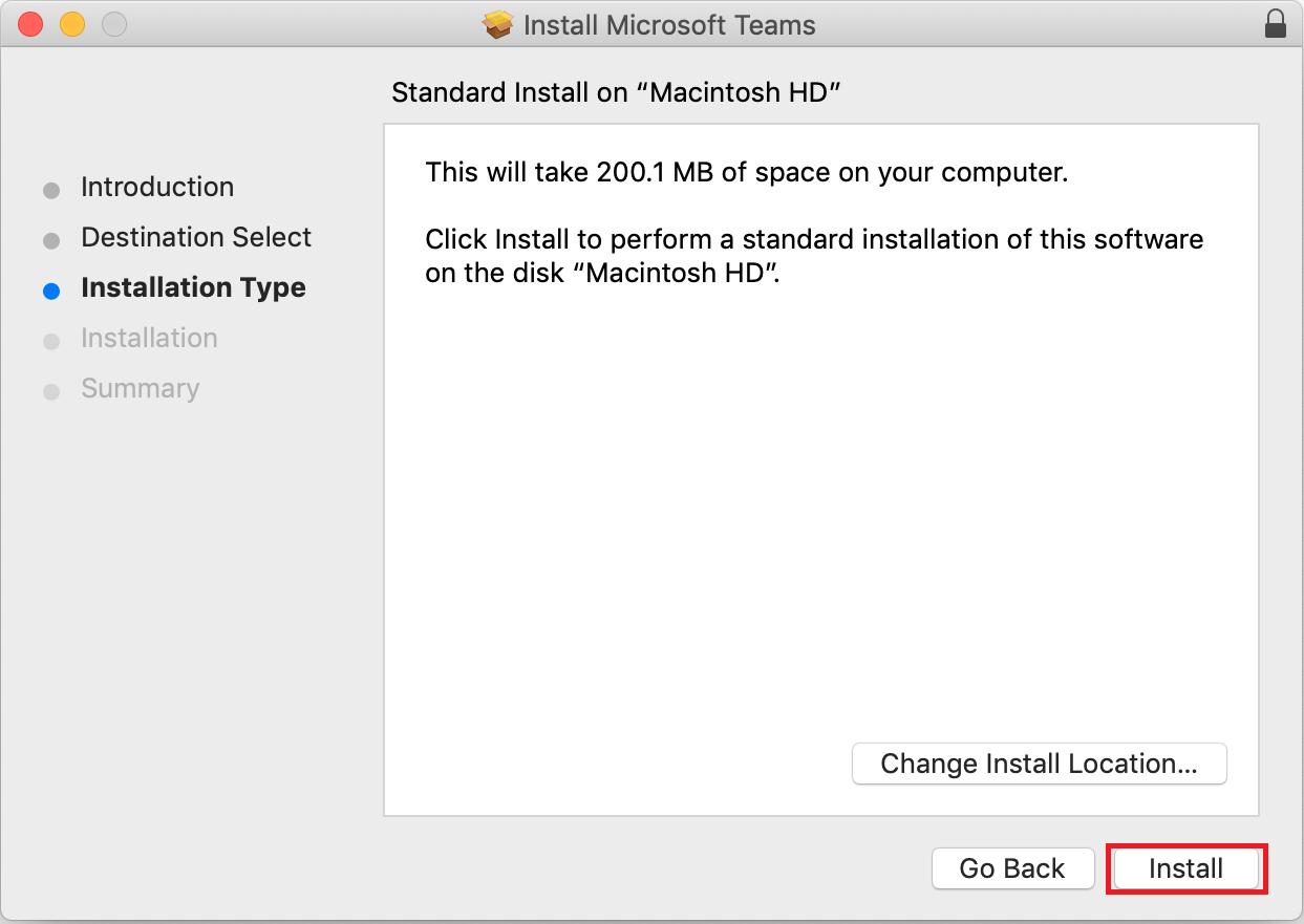 macOS Teams installer