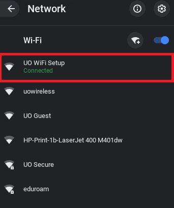 Wi-Fi connection list on Chrome OS with UO WiFi Setup highlighted