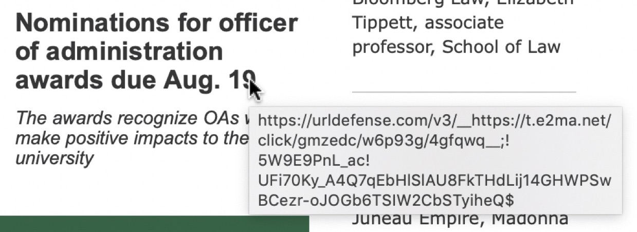 URL link protection example: an altered URL with https://urldefense.com at the beginning