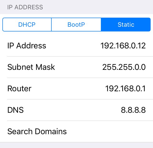 IP Settings Screen iOS