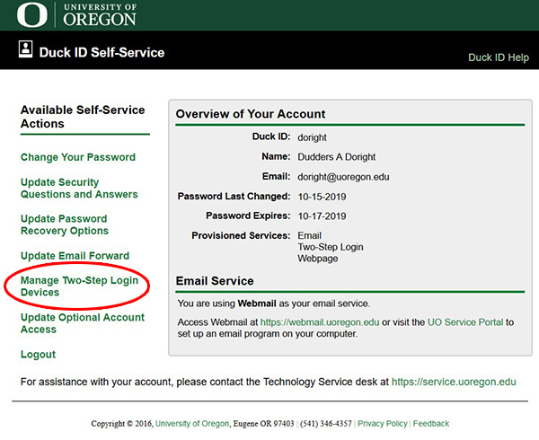 Screenshot shows the Available Self-Service Actions screen within Duck ID Self-Service. The Manage Two-Step Login Devices link is circled in red.