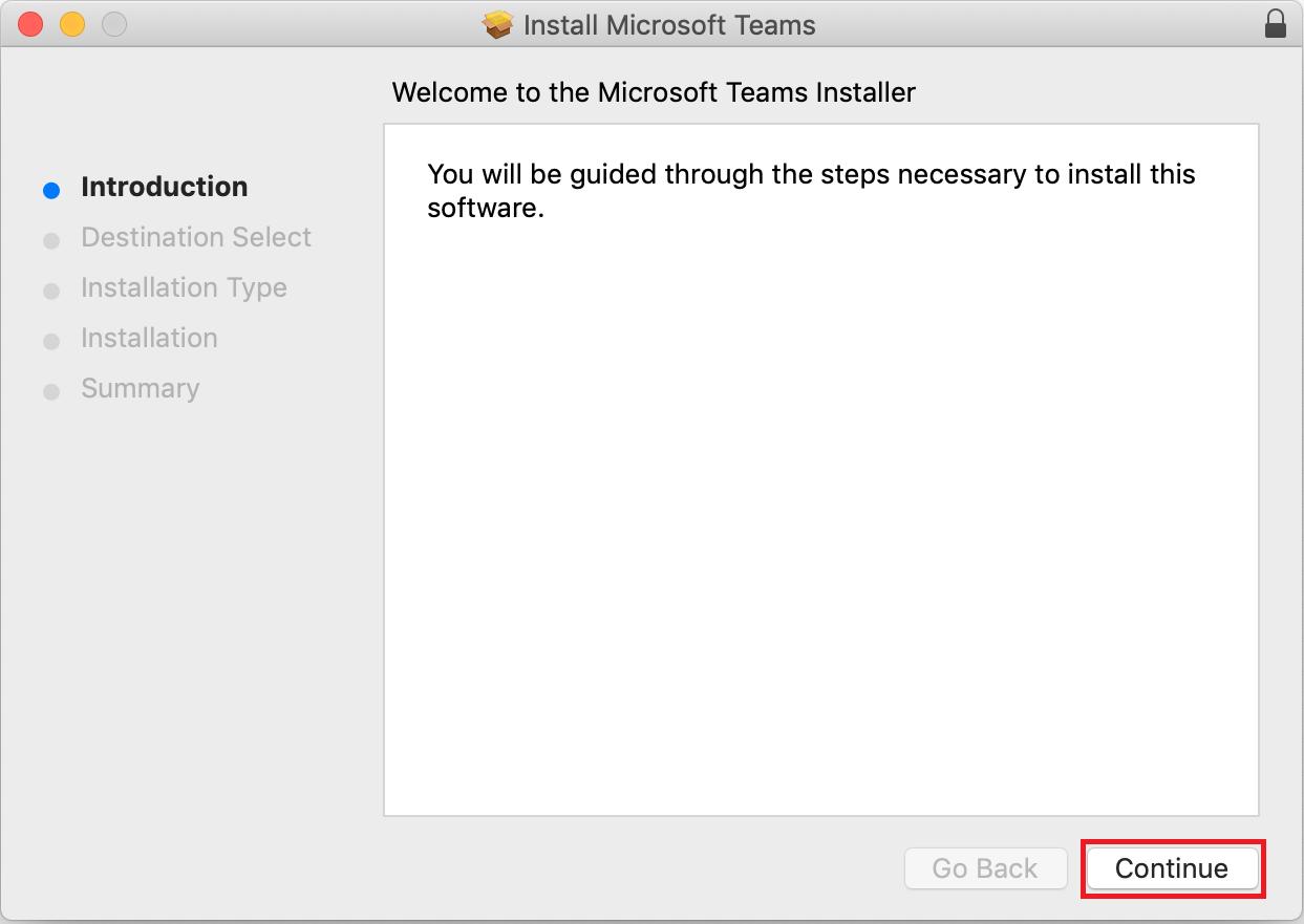macOS Teams installer.