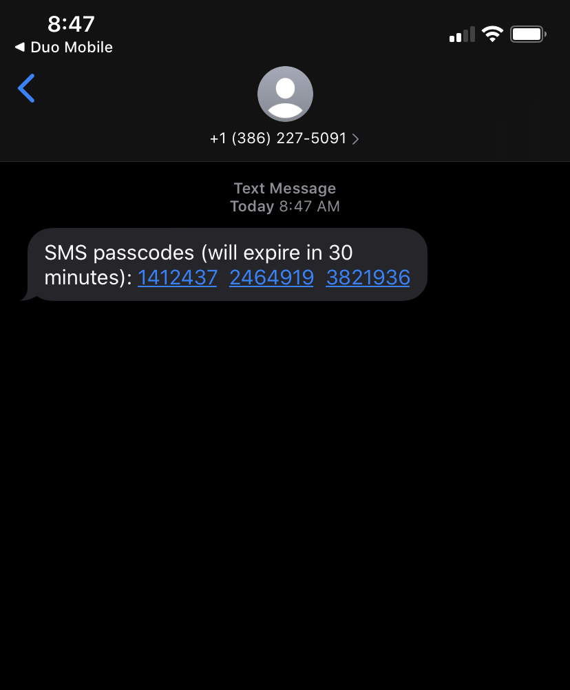 Duo passcodes via text message