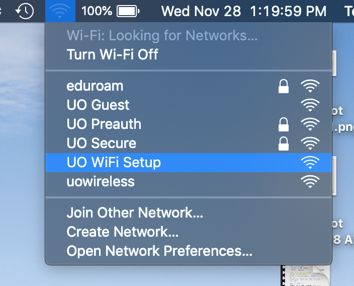 The Wi-Fi drop-down menu from the MacOS taskbar. UO WiFi Setup is highlighted.
