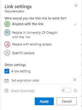 Update the share settings to your specifications when done click Apply