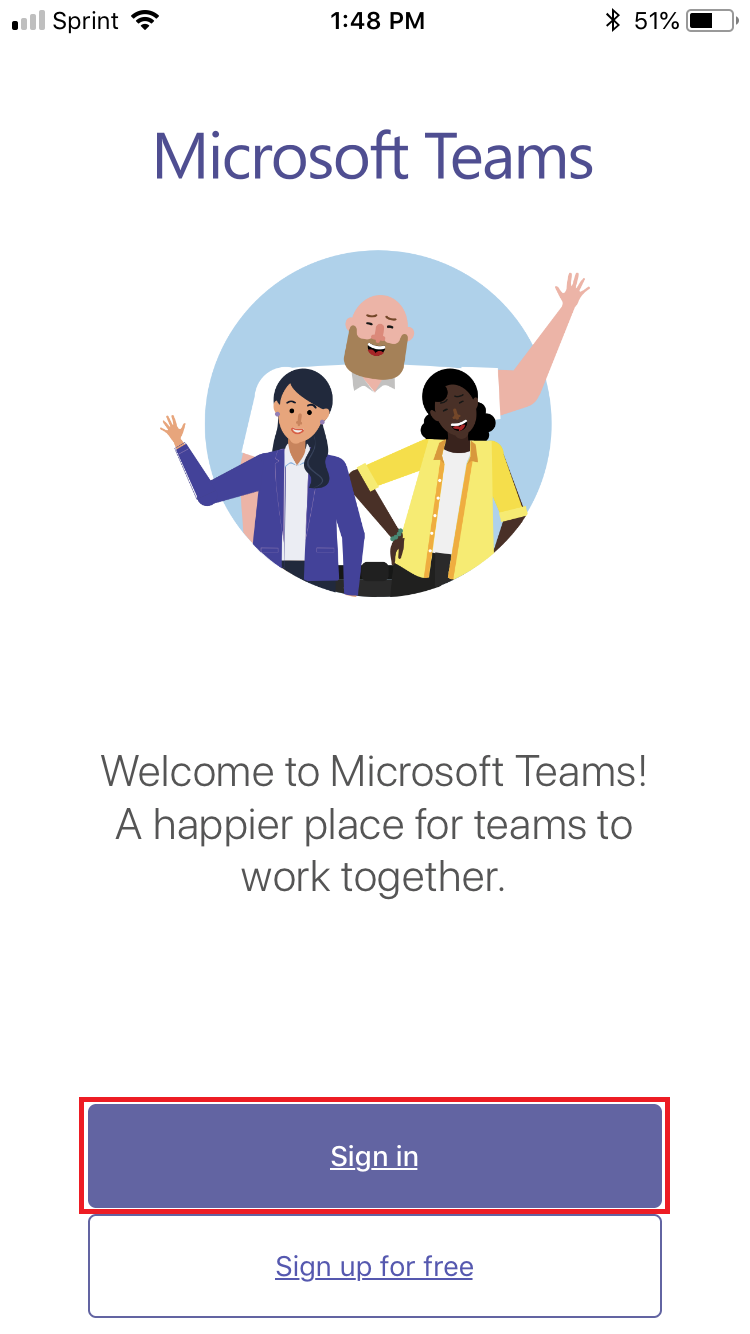 A picture of the sign in screen for microsoft teams