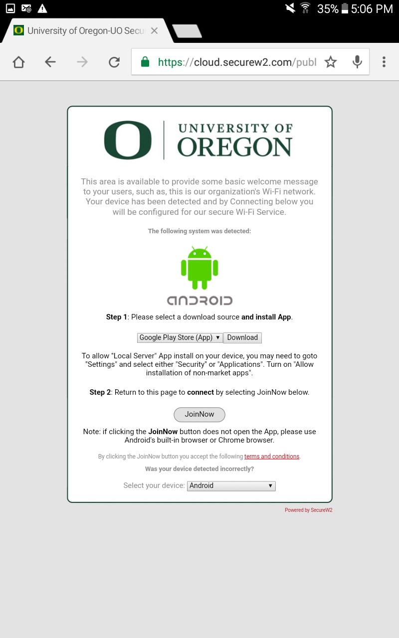 Screenshot of the Secure W2 options
