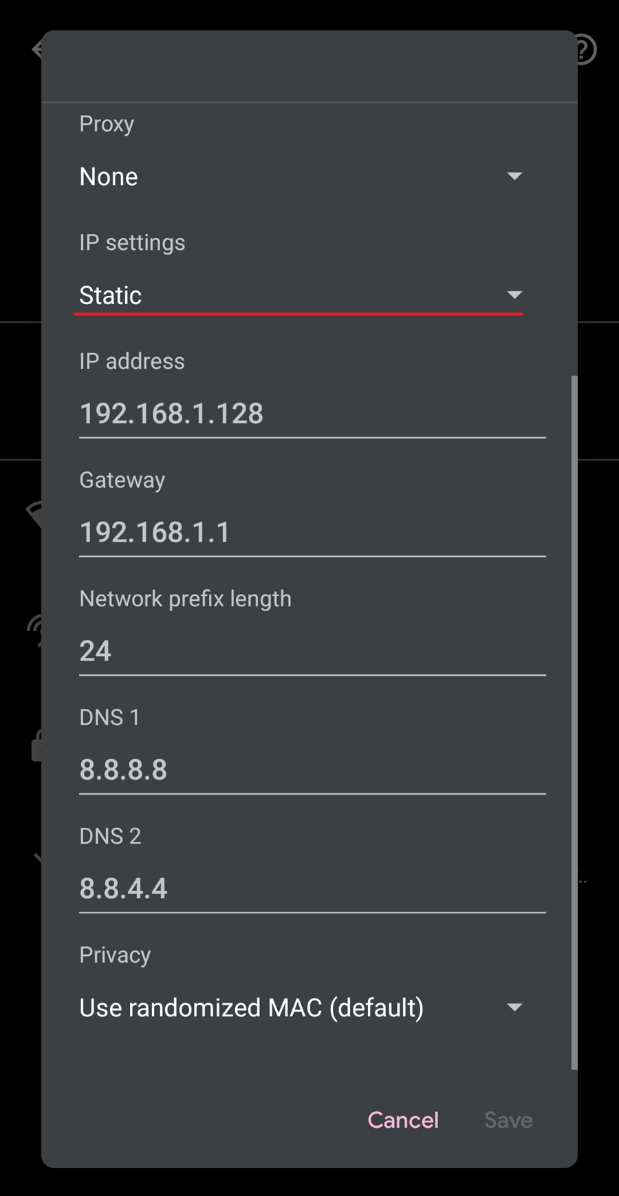 Change DHCP to Static